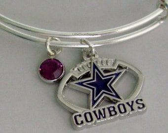 Dallas Cowboys CHARM Bangle W/ Birthstone / Initial Football Charm Bangle / Bracelet  Sports Bracelet- Gift  For Her NFL Bangle  Usa  sp1