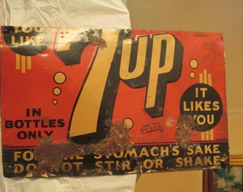 "Vintage c.1940's 7UP SODA pop 28"" embossed metal sign-original"