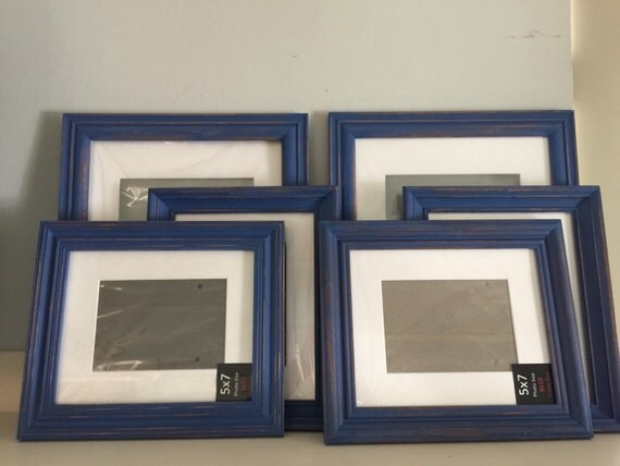 navy blue shabby chic distressed picture frames collection. Black Bedroom Furniture Sets. Home Design Ideas