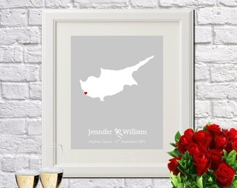 Custom Wedding Gift Personalized Gift Cyprus Wedding Newlywed Gift New Home Decor For Couples Wedding Anniversary - Any COUNTRY