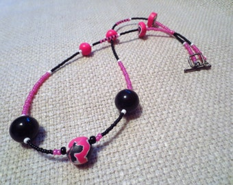 polymer clay necklace, polymer clay beads, pink and black beaded necklace,