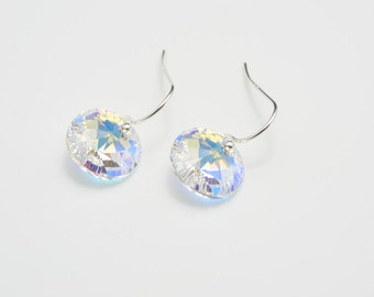 Drop Crystal Earrings,Swarovski Elements Xilion Round Crystal AB Earrings,Weddings Jewellery