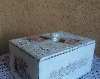 Decoupage tea box Decoupage wooden box Decoupage tea storage Decoupage jewelry storage Decoupage gift box for jewelry Decoupage storage box