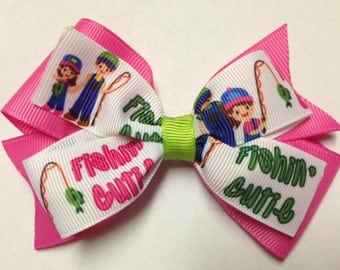 """4"""" fishin cutie hot pink fishing cutie hair bow baby clip birthday party toddler teen pinwheel over the top OTT stacked fishing pole camping"""