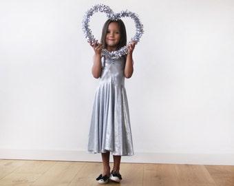 Silver girl dress, Short metallic dress, Girl's party dress, Silverflower girl dress