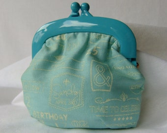 Handcrafted Jelly Clip Coin Purse - Robin Egg Blue - Gift Bag