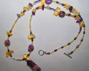 Amethyst, Citrine & Pearl Necklace