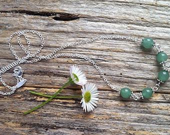 Aventurine Gemstone Sterling Silver Necklace
