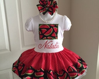 WATERMELON DRESS Red Green Summer Twirl Spin 2 piece Set Birthday Custom BOUTIQUE Pageant Party All Sizes 12mo 18mo 24mo 3t 4t 5 Girls