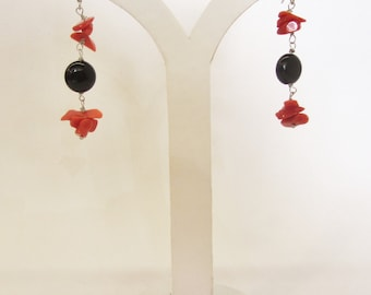 Coral and onyx earrings silver