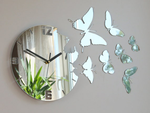Butterfly Mirror Wall Decoration : Wall clock mirror butterfly large gift decor