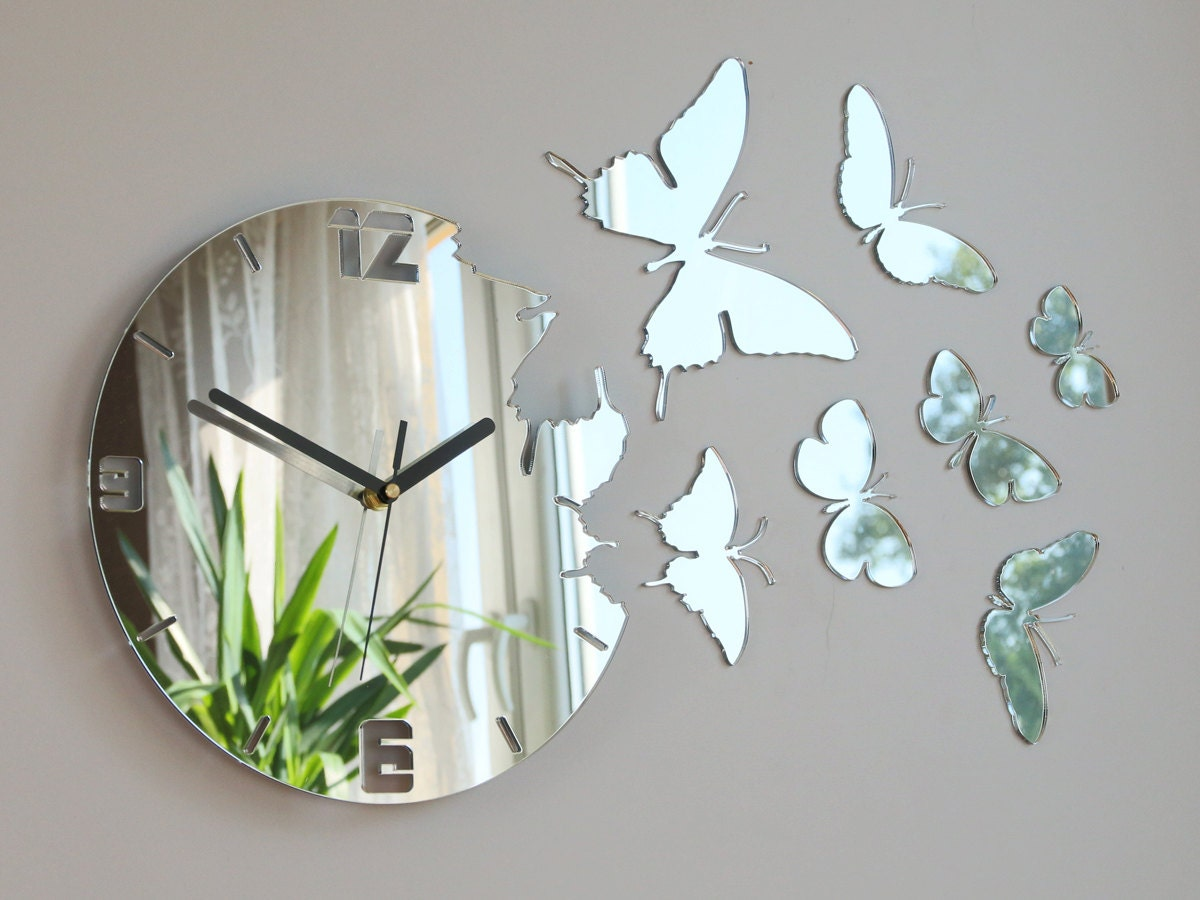 Wall Clock MIRROR BUTTERFLY large wall clock gift wall decor