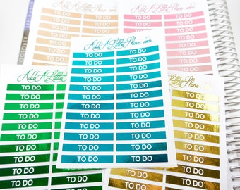 """24 Foiled Metallic Header Title """"TO DO"""" Planner Stickers (Fits ECLP) [#51]"""