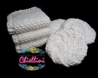 "knitted Dishcloths ""Grandma's Favorite Dishcloth"" with Crochet Tawashis"