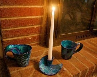 Blue Cup and Candleholder Set