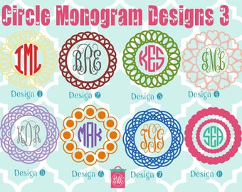 Monogrammed Vinyl Decals - Monogrammed Decals - Monogram Vinyl- circle monogram - monogram car decal - heart decal