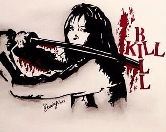 Kill Bill - Uma Thurman (handmade/only one piece) by domingoart