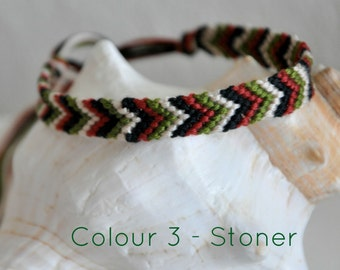 "Woven friendship bracelet/ anklet chevron arrow pattern Colour 3 ""Stoner"" 