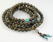 108PCS 8mm Natural Phoebe Gold Cat Eye Wood Prayer Buddha Mala Meditation Beads Round Loose Beads (90182455-392)