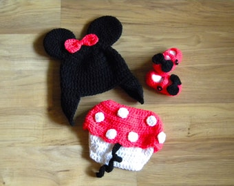 Minnie Mouse Photo Prop Outfit Sz 0-3 mos