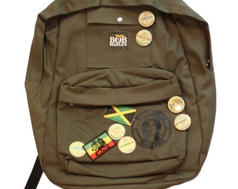 Bob Marley Zion Backpack New 2 front pockets Huge main Canvas Buttons & Patches New C@@L L@@K