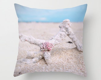 Beach pillow, beach cushion, blue cushion, blue pillow, photography pillow, seaside, unique, pillow cover, cushion cover, coral, with insert