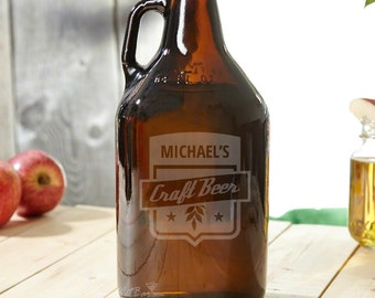 Brown Personalized Beer Growler with Craft Beer Engraving - Includes Custom Name - Cool Idea for Dad Brother & Boyfriend Beer Lovers