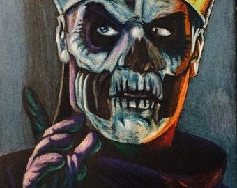 """Ghost bc """"Papa Emeritus ii"""" 9x12 original pencil art Meliora"""