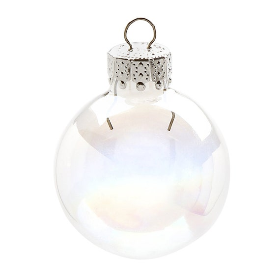 Mini iridescent glass ball ornaments 35mm inches x 20 for Clear plastic craft ornaments michaels
