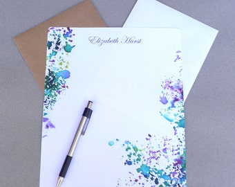 Stationary Paper, Personalized Stationery Set, Writing Paper, Letter Writing Set, Correspondence Paper, Purple & Green Watercolor Splash
