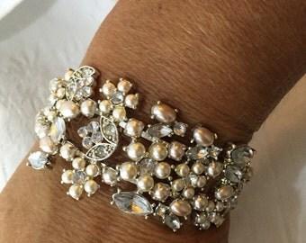 Vintage Liz Claiborne flower cuff bracelet