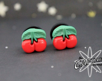 "Cherry  plugs for gauged ears 11mm 7/16"" rockabilly gauges bodmod"