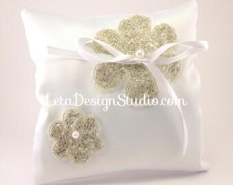 Wedding handmade ring bearer pillow, embroidered with beads Flower ring pillow Flower ring cushion Bride ring pillow Custom ring bearer