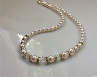 White Pearl Crystal Necklace | Wedding Necklace | Pearl Necklace | Pearl Bridesmaid Necklace | White Pearl Necklace | Pearl Bridal Necklace