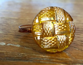 Golden Antique Button Ring, Yellow Antique Button