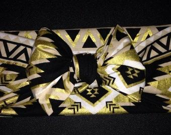 Gold and Black Aztec Tie Wrap Headband