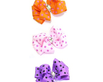 Polka dot Ribbon Hair clip, hair bow, hair accessory for women and kids,