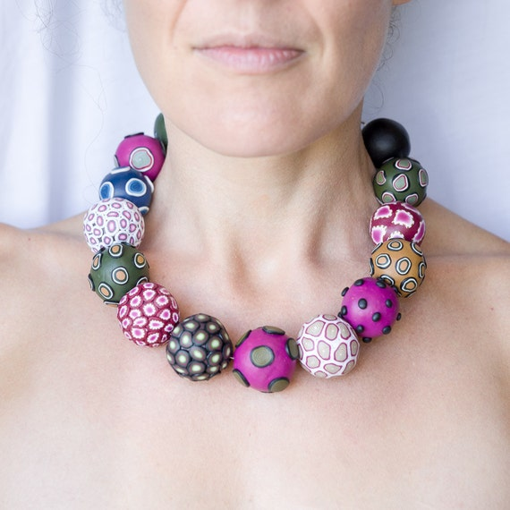 Big bead necklace, necklace, jewelry, bold, chunky, statement, funky, one of a kind, big bold necklace, unique, pink, artisan, ooak necklace