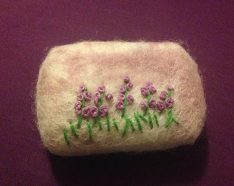 French Lavender Felted Embroidered Soap