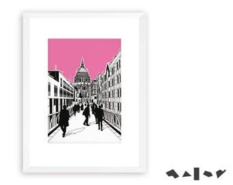 St. Paul's Catherdral. London Lines prints. LLPR33