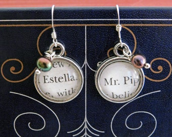 Great Expectations Recycled Book Page Earrings