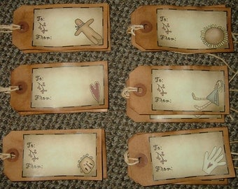 Primitive Hang Tags~To/ From~Folk Art Designs~Set of 12!