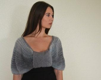 Cerulean/ grey shawl