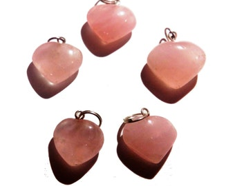 Rose Heart Shaped Pendents - Set Of 2