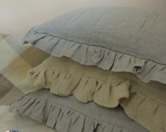 Vintage Linen Pillowcase with Frill 40x40 cm Linen Cottage Collection Decorative Pillow
