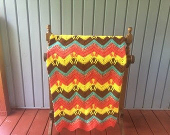 """FREE SHIPPING:  Crocheted ripple afghan.  Ready to ship.  45 1/2"""" x 60"""" This reminds me of a beautiful desert sunset"""