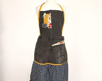 Handmade Denim Brown Apron Cottage Style Upcycled