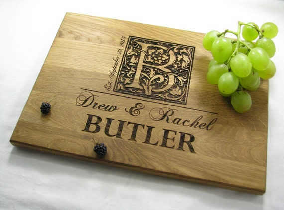 Monogram Wedding Gift Ideas: Personalized Wedding Gift Cutting Board Monogram By VnVbroWood