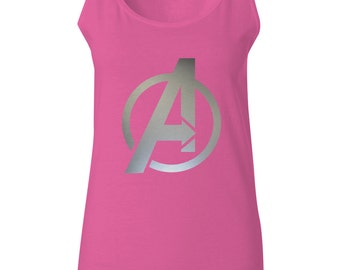 Womans Avengers Tank Top With Silver Foil