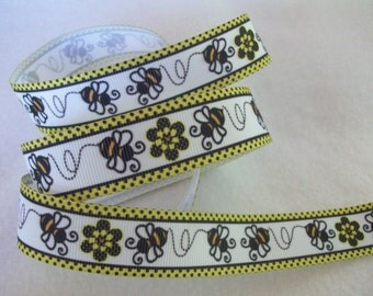 Bumble Bee and Flower Grosgrain Ribbon 7/8""